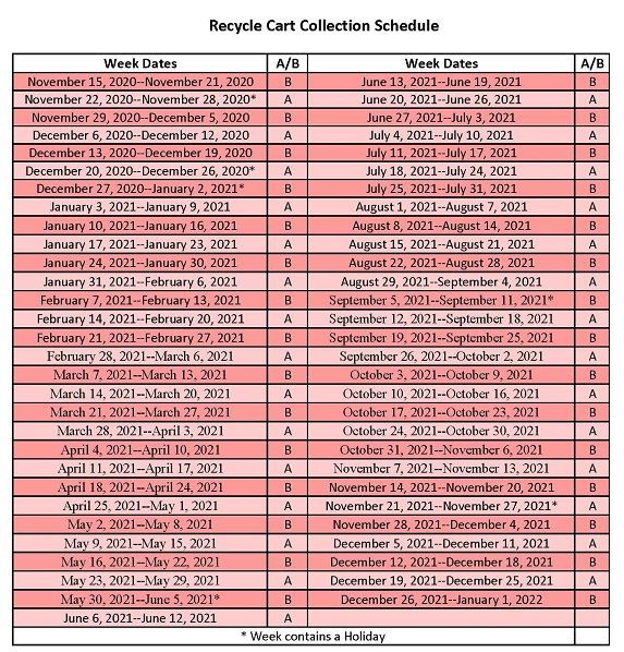 2020 Collection Schedule