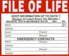 Blank of example of a File of Life information card