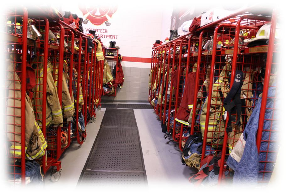 A room in a Fire Station containing the firefighters gear