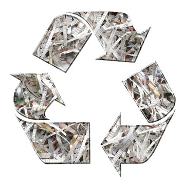 Shredded Paper in the Recycle Logo